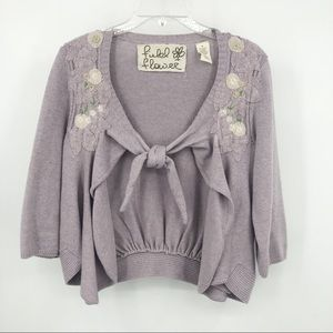 Anthropologie field flower embroidered cardigan